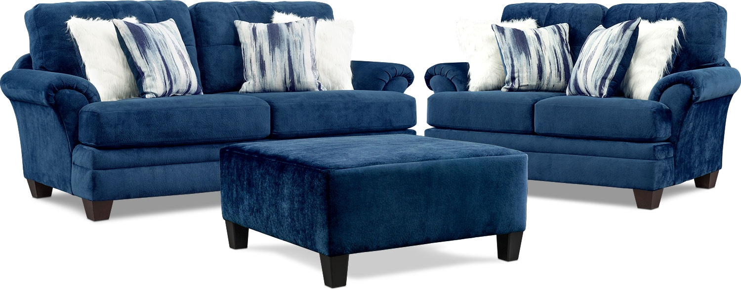 Living Room Furniture - Cordelle Sofa, Loveseat, and Ottoman with Faux Fur Pillows