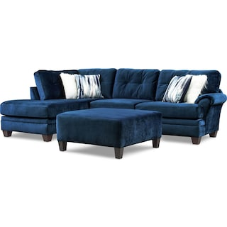 Cordelle 2-Piece Sectional with Chaise, Faux Fur Pillows and Ottoman