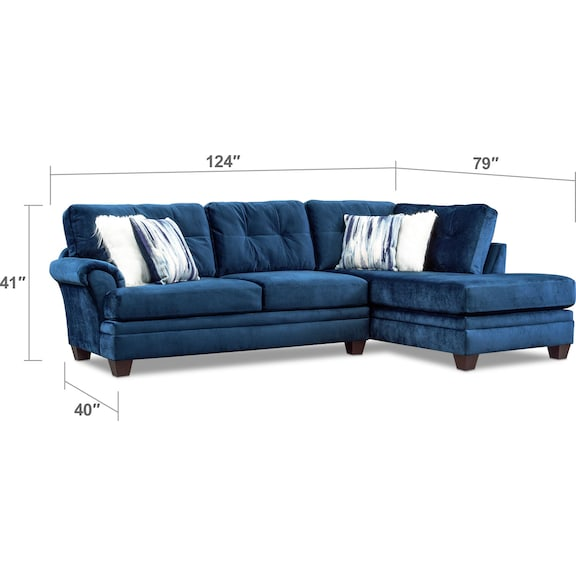 Living Room Furniture - Cordelle 2-Piece Sectional with Chaise and Faux Fur Pillows