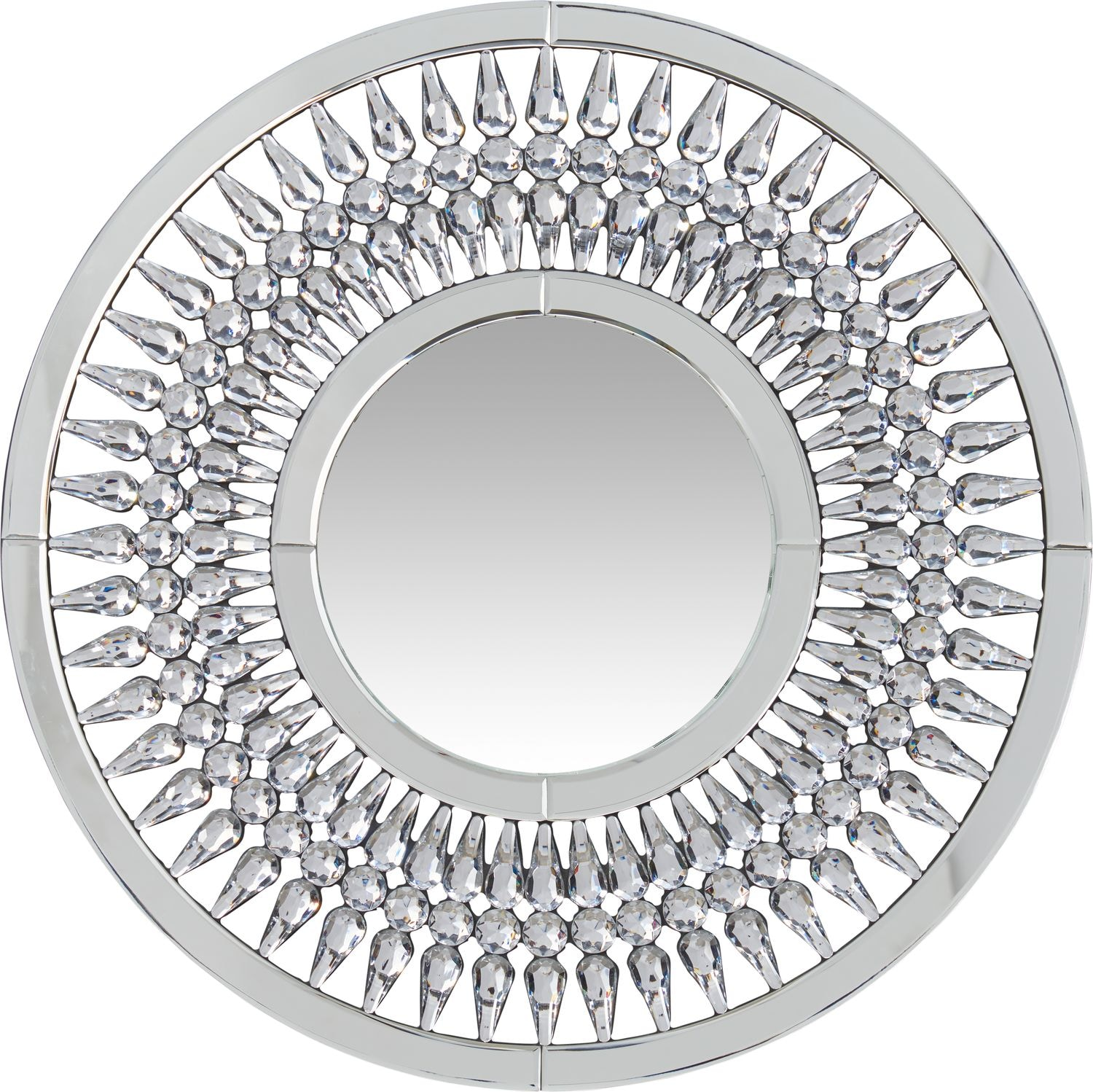 Home Accessories - Round Crystal Spoke Wall Mirror
