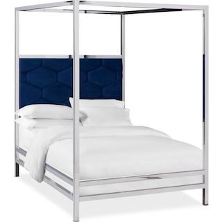 Concerto Queen Canopy Bed - Blue Velvet