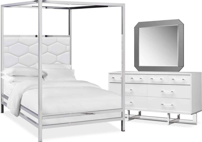 Bedroom Furniture - Concerto 5-Piece Canopy Bedroom Set with Dresser and Mirror