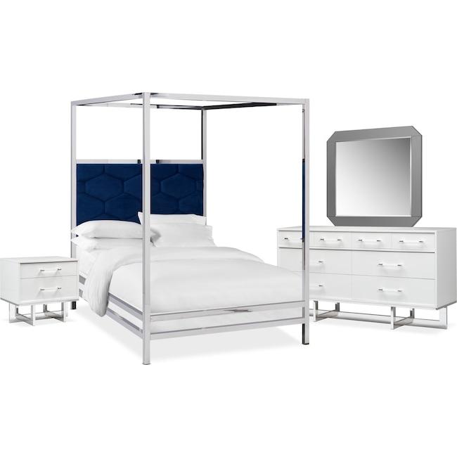 Bedroom Furniture - Concerto 6-Piece Canopy Bedroom Set with Nightstand, Dresser and Mirror