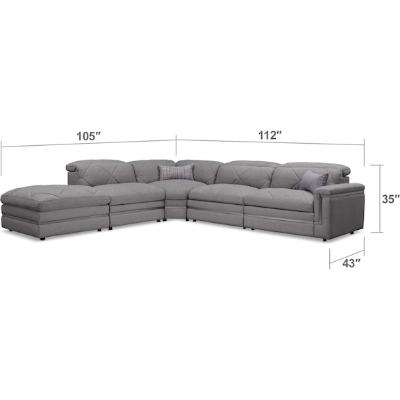 Living Room Furniture - Revel 4-Piece Dual-Power Reclining Sectional with Ottoman and 2 Reclining Seats