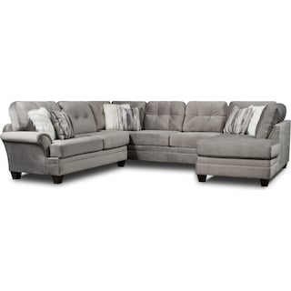 Cordelle 3-Piece Sectional and Swivel Chair Set with Faux Fur Pillows