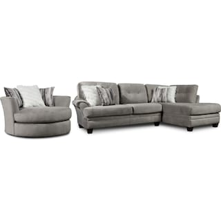 Cordelle 2-Piece Sectional with Chaise and Swivel Chair Set with Faux Fur Pillows