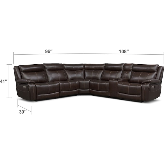 Living Room Furniture - Vince 6-Piece Dual-Power Reclining Sectional with 3 Reclining Seats