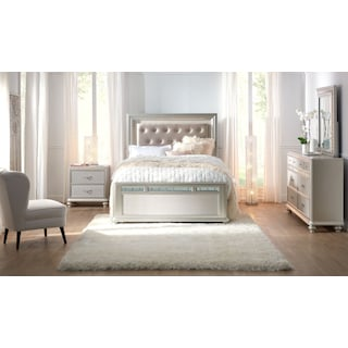 Sabrina 6-Piece Bedroom Set with Nightstand, Dresser and Mirror