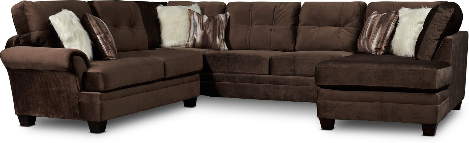 Living Room Furniture - Cordelle 3-Piece Sectional with Chaise and Faux Fur Pillows