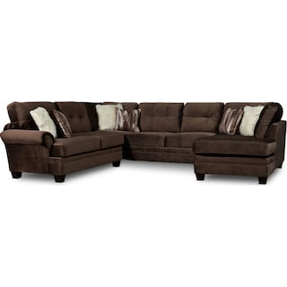 Cordelle 3-Piece Sectional with Right-Facing Chaise and Ottoman - Chocolate