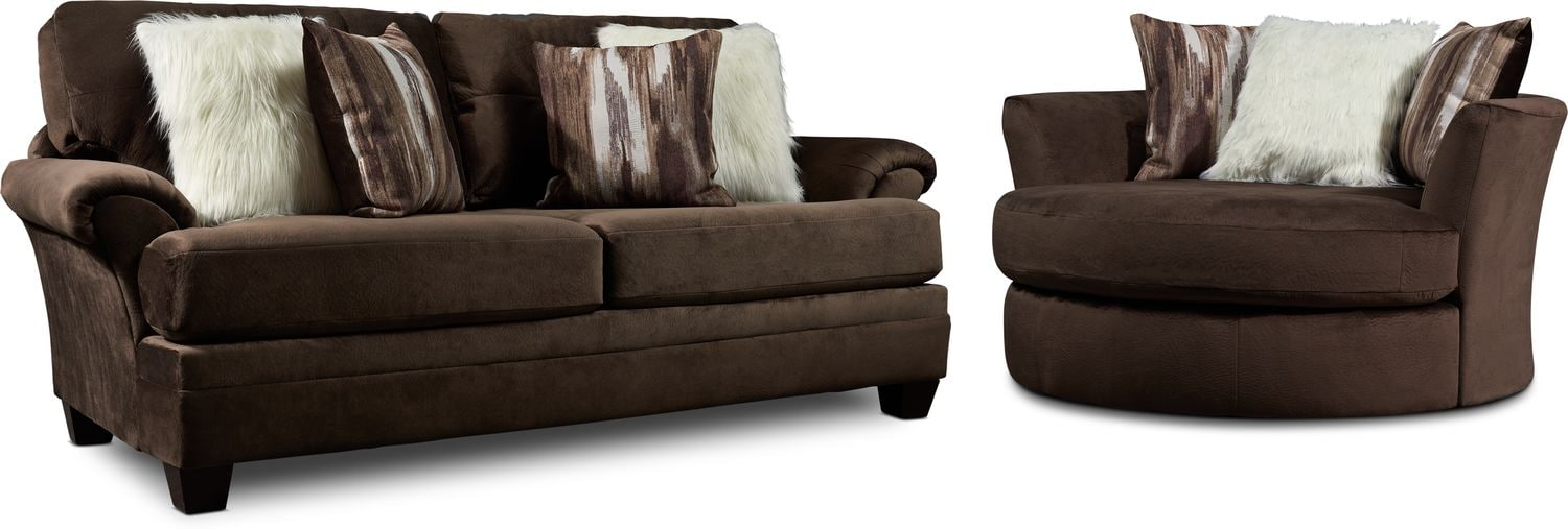 Living Room Furniture - Cordelle Sofa and Swivel Chair Set with Faux Fur Pillows
