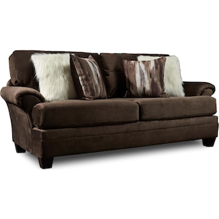Cordelle Sofa and Swivel Chair Set with Faux Fur Pillows