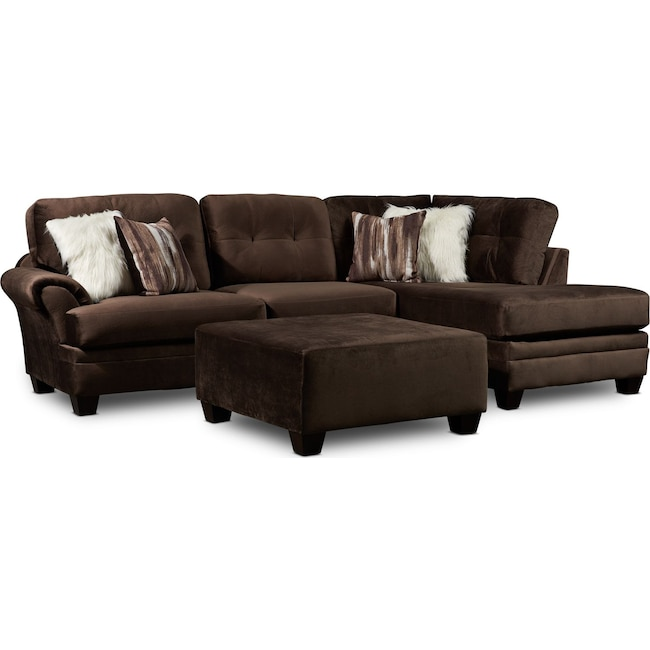 Living Room Furniture - Cordelle 2-Piece Sectional with Accent Pillows + FREE OTTOMAN