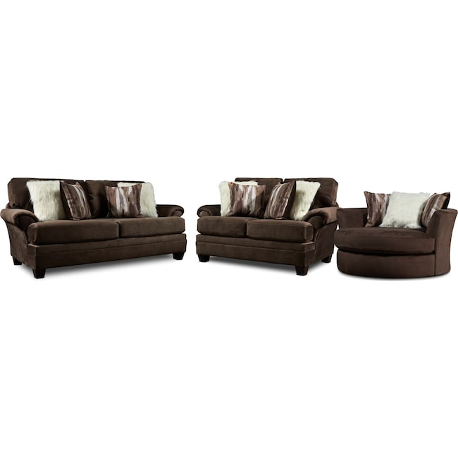 Living Room Furniture - Cordelle Sofa, Loveseat, and Swivel Chair with Faux Fur Pillows