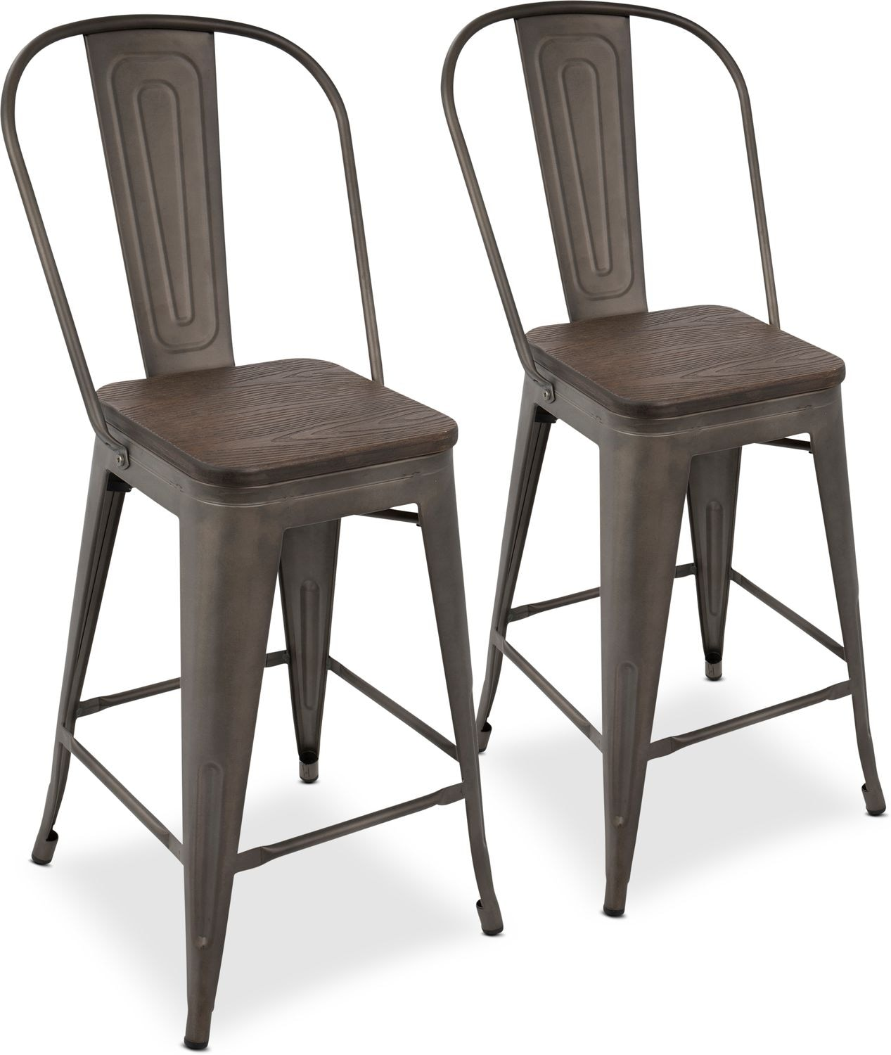 Dining Room Furniture - Dax Set of 2 High Back Counter-Height Stools