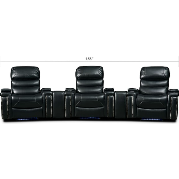 Living Room Furniture - Jackson 5-Piece Triple-Power Reclining Home Theater Sectional