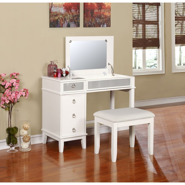 Accent and Occasional Furniture - Jenna Vanity Desk and Stool