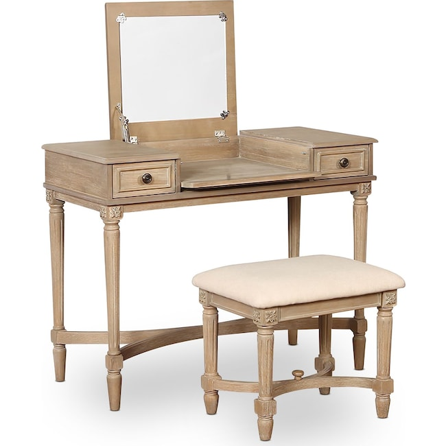 Accent and Occasional Furniture - Michelle Vanity Desk and Stool
