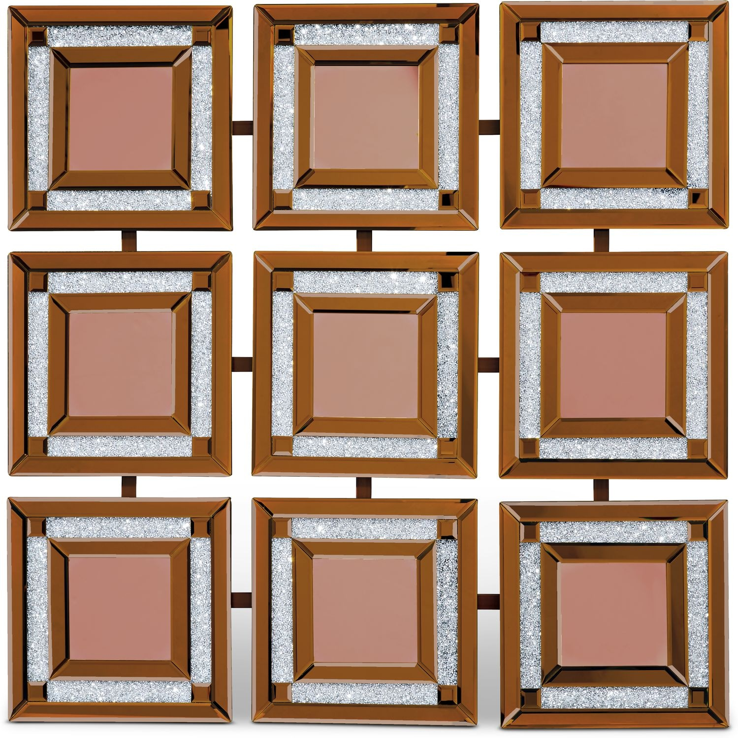 Home Accessories - Gold Nine Panel Wall Mirror