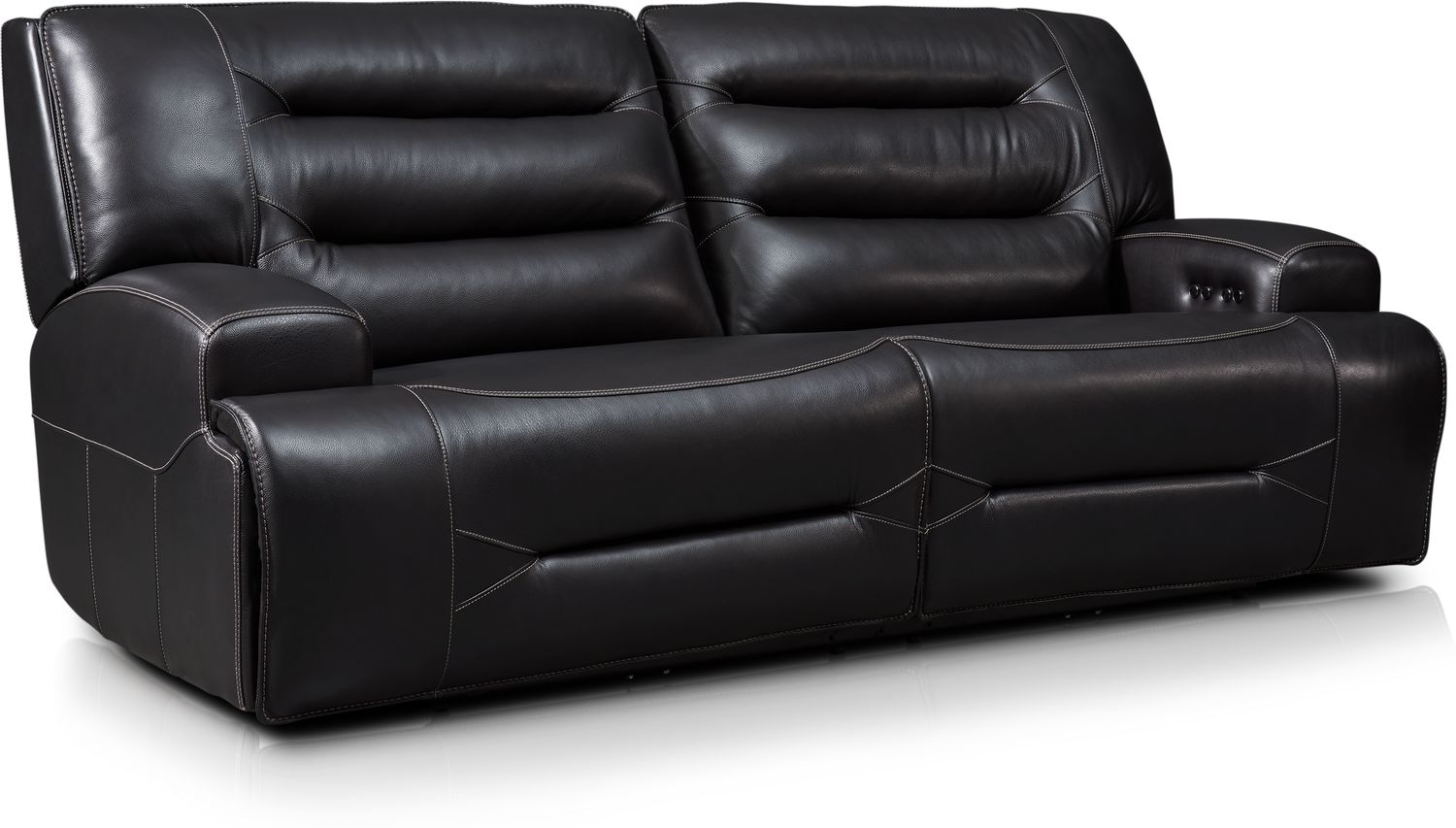 Living Room Furniture - Preston Dual-Power Reclining Sofa - Black