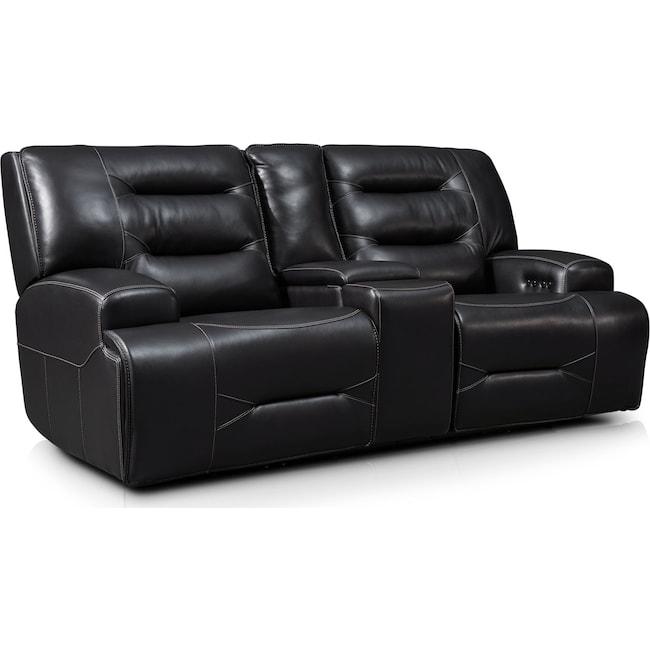 Living Room Furniture - Preston Dual-Power Reclining Loveseat - Black