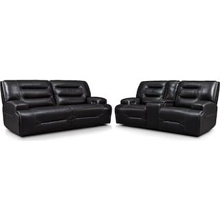 Preston Dual-Power Reclining Sofa and Loveseat Set - Black