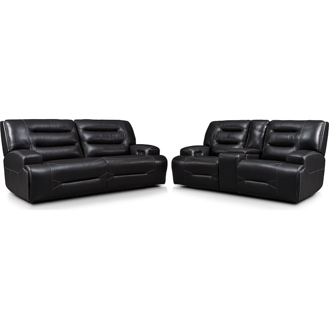 Living Room Furniture - Preston Dual-Power Reclining Sofa and Loveseat Set - Black