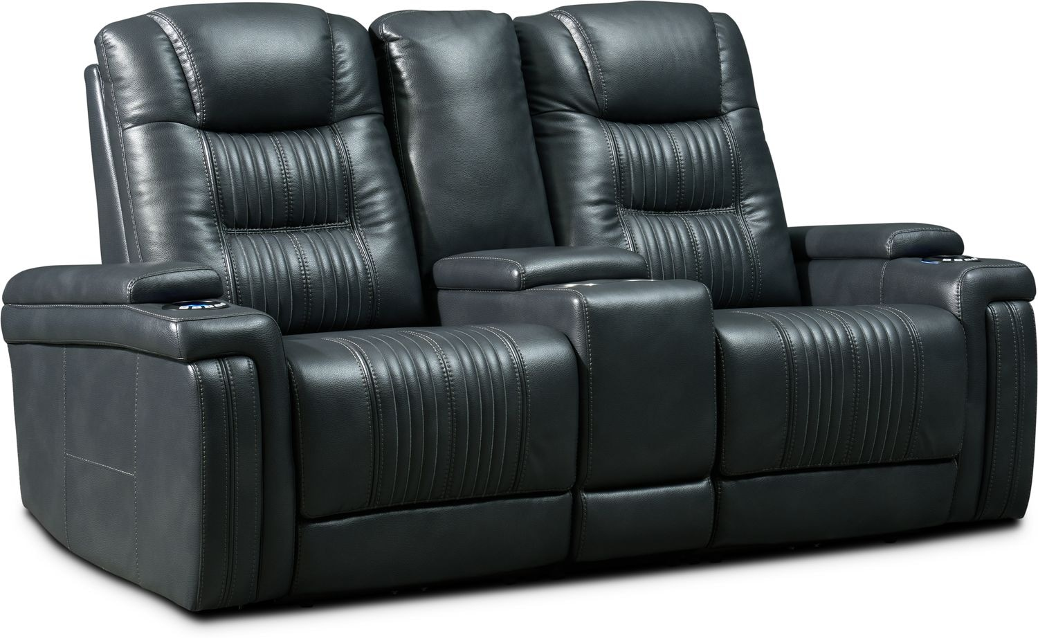 Living Room Furniture - Magnus 3-Piece Triple-Power Reclining Sofa with Console - Gray