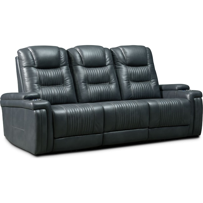 Living Room Furniture - Magnus 3-Piece Triple-Power Reclining Sofa with 2 Reclining Seats - Gray