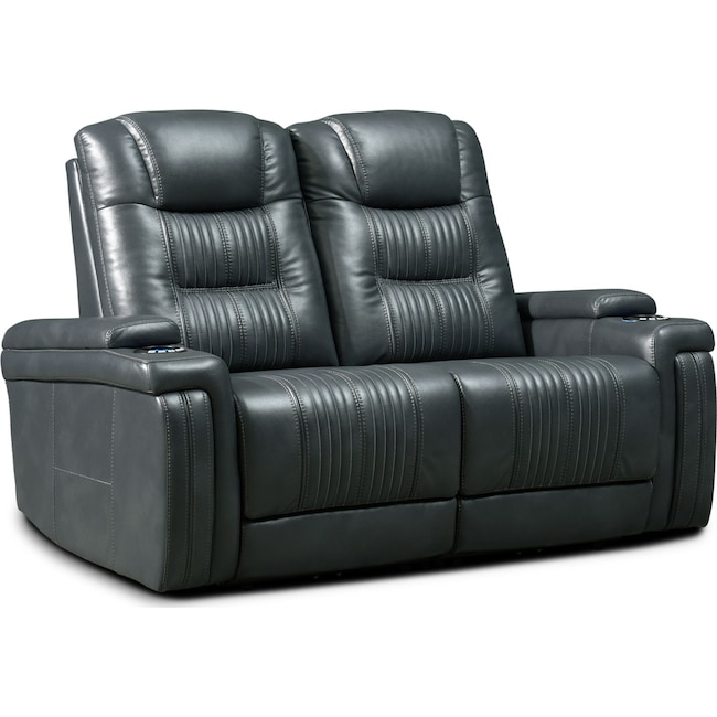 Living Room Furniture - Magnus 2-Piece Triple-Power Reclining Sofa - Gray