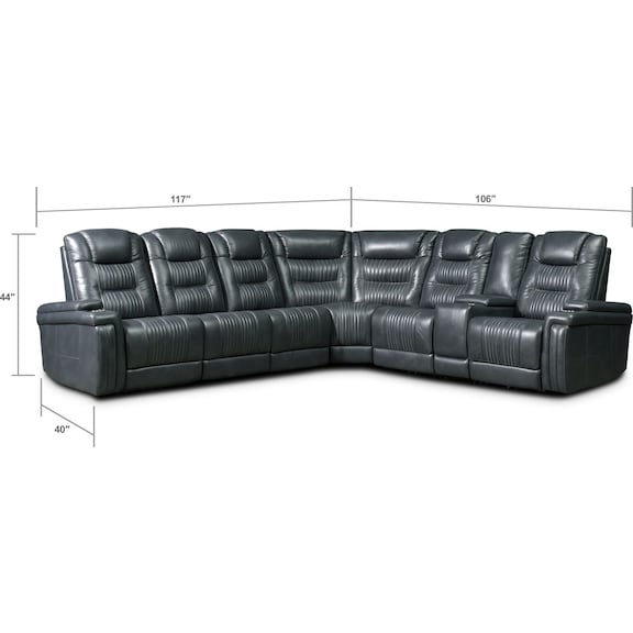 Living Room Furniture - Magnus 7-Piece Triple-Power Reclining Sectional with 3 Reclining Seats - Gray