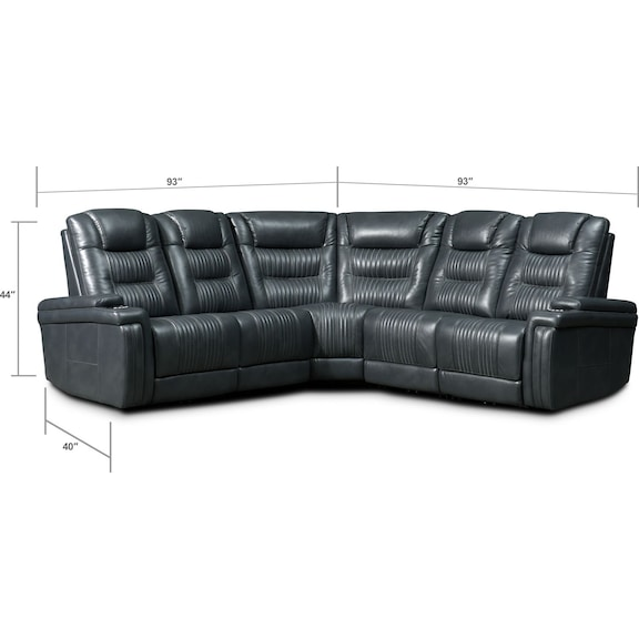 Living Room Furniture - Magnus 5-Piece Triple-Power Reclining Sectional with 3 Reclining Seats - Gray