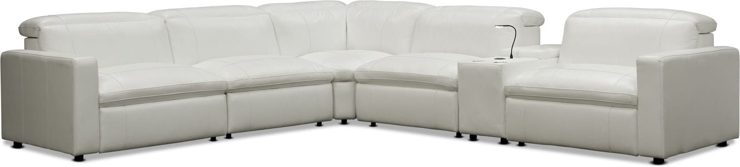 Living Room Furniture - Happy 6-Piece Dual-Power Reclining Sectional with 3 Reclining Seats