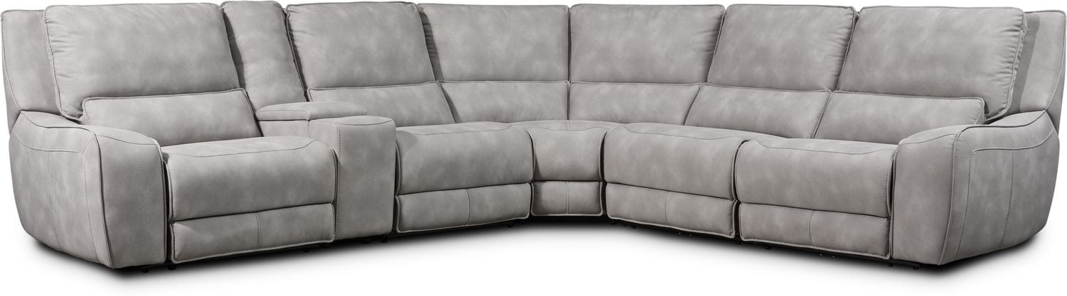 Living Room Furniture - Holden 6-Piece Dual-Power Reclining Sectional with 3 Reclining Seats - Stone