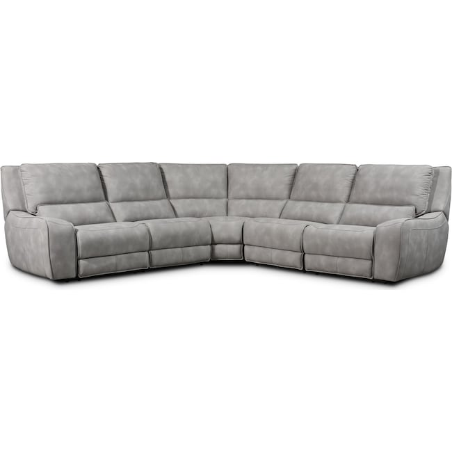 Living Room Furniture - Holden 5-Piece Dual-Power Reclining Sectional with 3 Reclining Seats - Stone