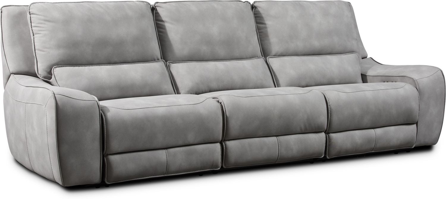 Living Room Furniture - Holden 3-Piece Dual-Power Reclining Sofa - Stone