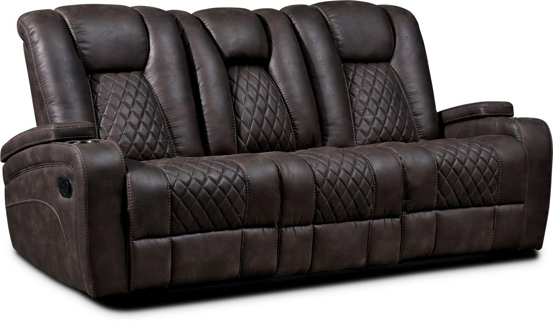 Living Room Furniture - Felix Manual Reclining Sofa - Brown