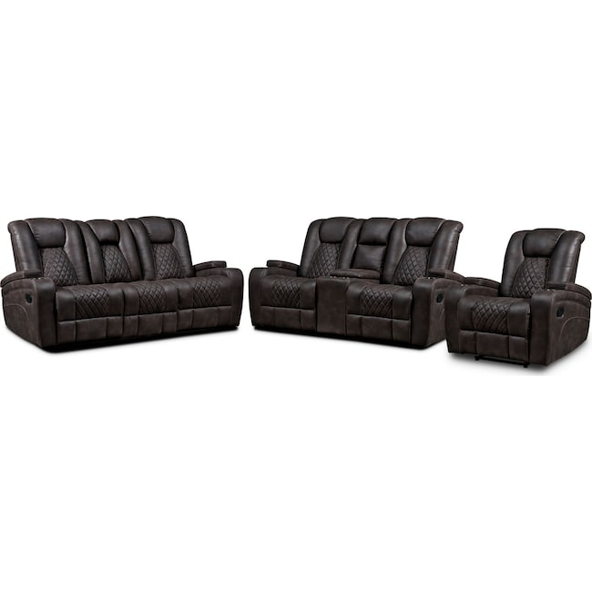 Living Room Furniture - Felix Manual Reclining Sofa, Loveseat and Recliner - Brown