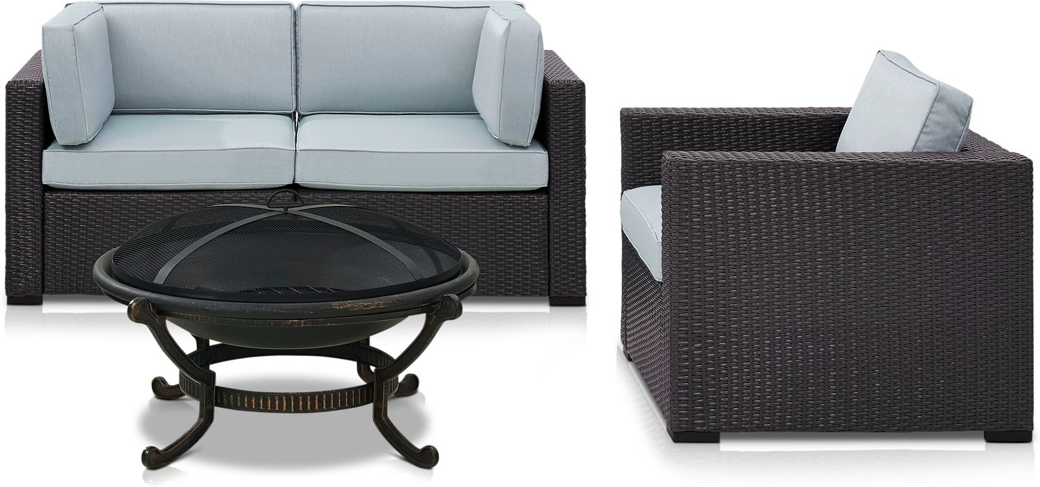 Outdoor Furniture - Isla Outdoor Loveseat, Chair and Fire Pit
