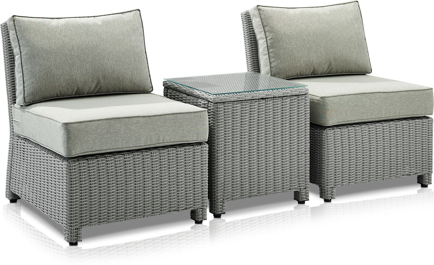 Outdoor Furniture - Destin Set of 2 Outdoor Armless Chairs and End Table