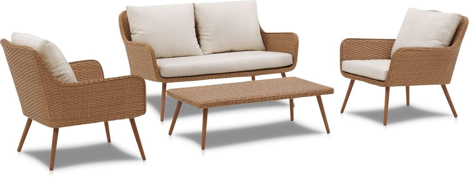 Outdoor Furniture - Delray Outdoor Loveseat, 2 Chairs and Coffee Table Set