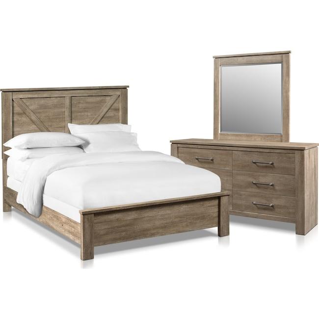 Bedroom Furniture - Perry 5-Piece Queen Bedroom Set with Dresser and Mirror