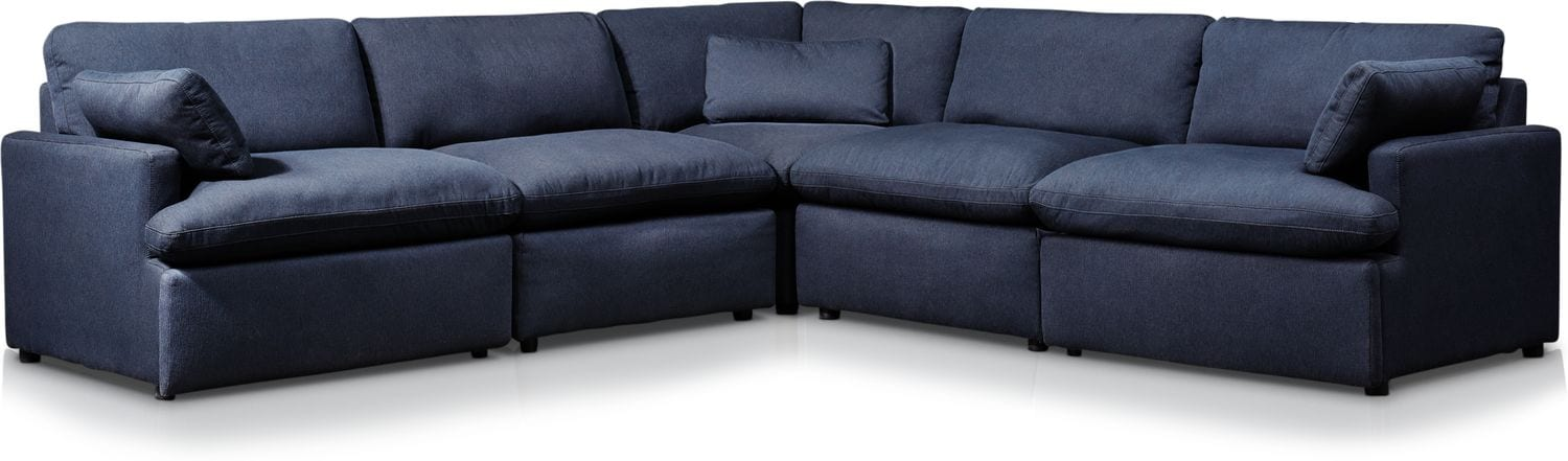 Living Room Furniture - Cozy 5-Piece Power Reclining Sectional with 2 Reclining Seats
