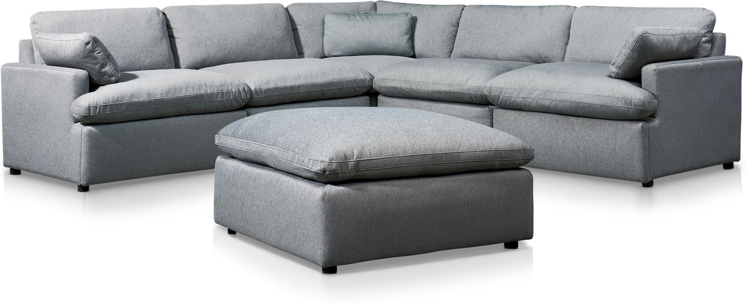 Living Room Furniture - Cozy 5-Piece Sectional with Ottoman
