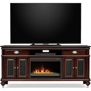 "Esquire 76"" Contemporary Fireplace TV Stand - Merlot"
