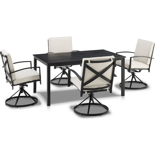 Outdoor Furniture - Clarion Outdoor Dining Table and 4 Swivel Chairs