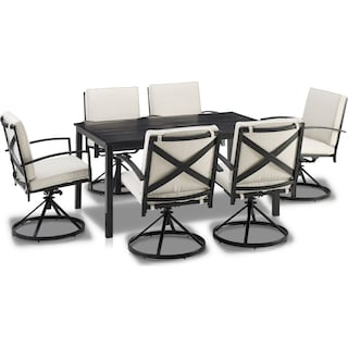 Clarion Outdoor Dining Table and 6 Swivel Chairs