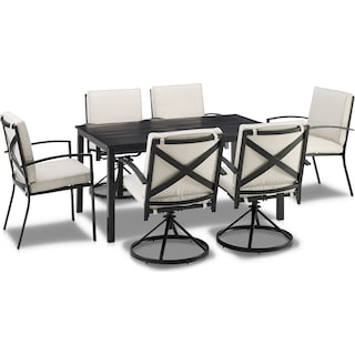 Clarion Outdoor Dining Table, 4 Swivel Chairs and 2 Dining Chairs