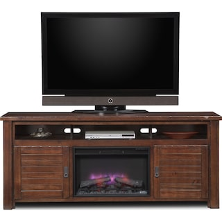 """Prairie 74"""" Fireplace TV Stand with Traditional Insert - Mesquite Pine"""