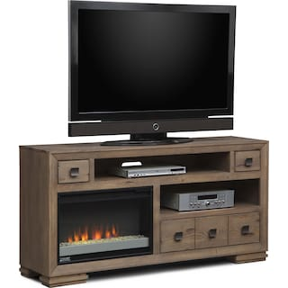 """Mesa 64"""" Fireplace TV Stand with Contemporary Insert - Gray"""